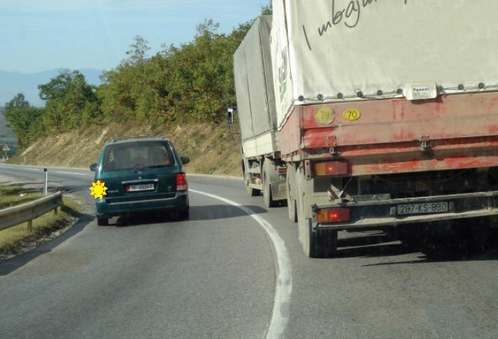 Shoferi i automjetit të udhëtarëve (veturës) tejkalon bashkësinë e mjeteve, në këtë situatë. Si e vlerësoni këtë veprim?