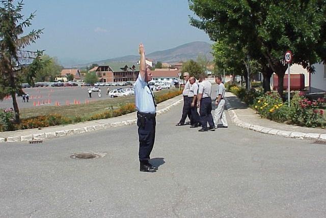 Çfarë do të thotë dora e ngritur lart e policit si në foto?