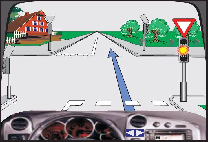 Në semafor është e ndezur drita e verdhë vezulluese (me ndërprerje). Çka duhet të keni parasysh në këtë situatë?