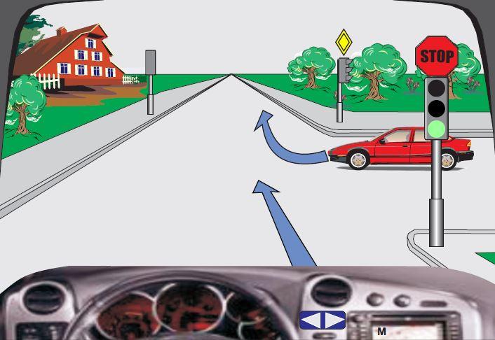 Në semafor ndriçon drita e gjelbër. Si do të veproni në këtë situatë?