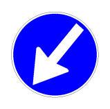 Sinjali në figurë detyron drejtuesit e mjeteve të kalojnë nga e majta e një kantieri rrugor të mundshëm.