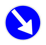 Sinjali në figurë, i vendosur në prani të një ishulli trafiku, i detyron drejtuesit e mjeteve të kalojnë nga e djathta.