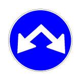 Sinjali në figurë tregon kalime të lejuara djathtas ose majtas një ishulli trafiku të mundshëm.
