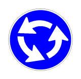 Sinjali në figurë tregon se kryqëzimi ku po futemi është i rregulluar me një rrethqarkullim.