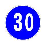 Sinjali në figurë të detyron të qarkullosh me shpejtësi të barabartë ose më të madhe se 30 km/orë.
