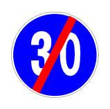 Pas sinjalit në figurë lejohet qarkullimi edhe me shpejtësi më të vogël se 30 km/orë.
