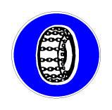 Sinjali në figurë lejon qarkullimin e mjeteve me zinxhirë në gomat aktive.