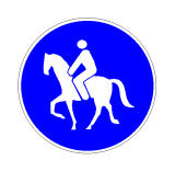 Sinjali në figurë tregon një rrezik që mund të vijë nga kuajt në rrugë.