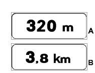 Panelet plotësuese në figurë që shoqërojnë një sinjal rreziku tregojnë distancën ndërmjet sinjalit dhe pikës ku fillon rreziku.