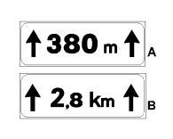 Peneli plotësues A në figurë, i vendosur poshtë një sinjali rreziku, tregon se gjatësia e pjesës së rrezikshme të rrugës është 380 metër.