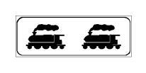 Paneli plotësues në figurë paralajmëron linjë hekurudhore, mbi të cilën lëvizin trena që tërhiqen nga dy lokomotiva.