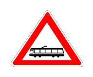 Në prani të sinjalit në figurë duhet të tregojmë kujdes që të mos pengojmë kalimin e tramvajit.