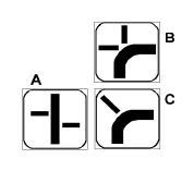 Panelet plotësuese B në figurë tregojnë se jemi në rrugë kryesore, që në kthesë ndërpritet me 2 rrugë dytësore.
