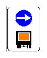 Sinjali në figurë tregon drejtim të detyruar djathtas për mjetet që transportojnë mallra të rrezikshme.