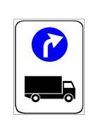 Sinjali në figurë paralajmëron drejtim të detyruar për kategorinë e mjeteve të treguara në sinjal.