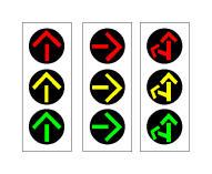 Sinjalet e ndritshme në figurë janë semaforë vetëm për mjetet e transportit publik.