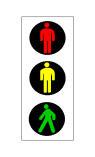 Semafori në figurë, me fenerin jeshil të ndezur, lejon kalimin e këmbësorëve.