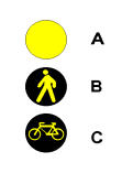 Në sinjalin si në figurë, feneri i tipit C tregon një pistë biçikletash.