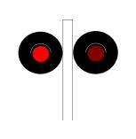 Kur pulsojnë dritat e kuqe të sinjalit në figurë, të vendosur para një kalimi në nivel me gjysmëbarriera, duhet të ndaloni mjetin para vijës tërthore për të kaluar treni.