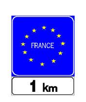 Sinjali në figurë tregon detyrimin për të ndaluar pas një 1 kilometri, në doganën e shtetit të shënuar.