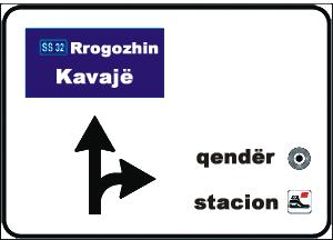 Sinjali në figurë na tregon se për të shkuar tek stacioni i trenit duhet të kthehemi djathtas.
