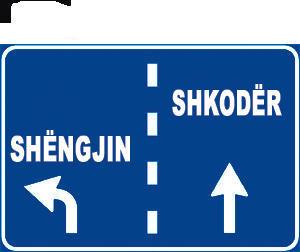 Sinjali në figurë i tregon drejtuesit të mjetit se duhet të pozicionohet në korsinë e djathtë, për të shkuar në Shkodër .