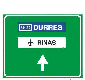 Sinjali në figurë tregon se duke lëvizur sipas drejtimit të shigjetës, ndodhet rruga shtetërore interurbane që të çon në Durrës.