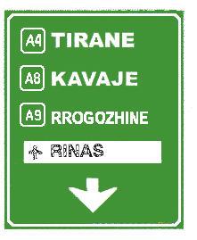 Sinjali në figurë tregon se për të shkuar në Rrogozhinë, duhet të marrim autostradën A9.