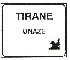 Sinjali në figurë, i vendosur në autostradë, tregon korsinë që duhet zgjedhur për të dalë në zonë urbane.