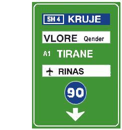 Sinjali në figurë tregon korsi autostrade, me kufi të shpejtësisë minimale, për të shkuar në destinacionet e shënuar në të.