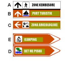 Sinjali në figurë tregon zona këmbësore apo turistike, sipas drejtimit që tregohet nëpërmjet shigjetave.