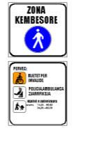 Sinjali në figurë tregon një zonë për këmbësorë, ku lejohet të qarkullojnë mjetet e shënuar në panelin plotësues.