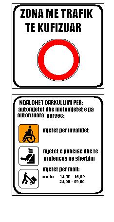 Sinjali në figurë tregon zonë me trafik të kufizuar.