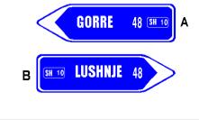 Sinjali në figurë tregon drejtime në rrugë interurbane për të arritur në vendet e shënuara.