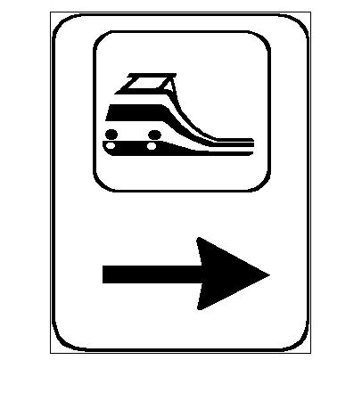 Sinjali në figurë tregon drejtimin për të hyrë në stacionin e trenit.