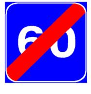 Sinjali në figurë tregon fundin e shpejtësisë së këshilluar.