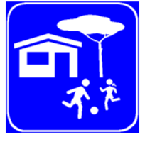 Sinjali në figurë tregon se futemi në një zonë urbane ose në një zone me park lojërash.