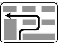 Sinjali në figurë u tregon drejtueseve të mjeteve, që duan të kthehen majtas në kryqëzim, se duhet fillimisht të kthehen djathtas dhe më pas sipas itinerarit të treguar.