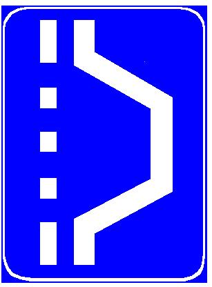 Sinjali në figurë paralajmëron një zgjerim të karrexhatës.