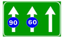 Sinjali në figurë detyron mjetet të lëvizin, në çdo korsi, me shpejtësi më të vogël se shpejtësitë e treguara në sinjal.