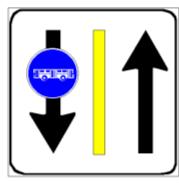 Sinjali në figurë përcakton me anë të shiritit të verdhë një pistë për biçikleta.