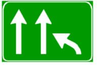 Në prani të sinjalit në figurë mund të kemi ngadalësim të lëvizjes së mjeteve për shkak të ngushtimit të karrexhatës së autostradës.