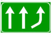 Sinjali në figurë paralajmëron drejtuesit e mjeteve se duhet të marrin kthesën djathtas.