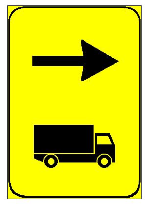 Sinjali në figurë tregon drejtim të këshilluar djathtas, përkohësisht, për kamionët me peshë të përgjithshme mbi 3.5 tonë.