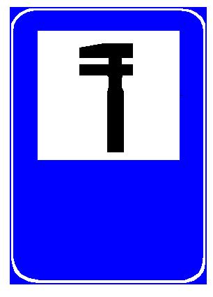Sinjali në figurë tregon praninë e asistencës (ndihmës) teknike pranë rrugës interurbane.