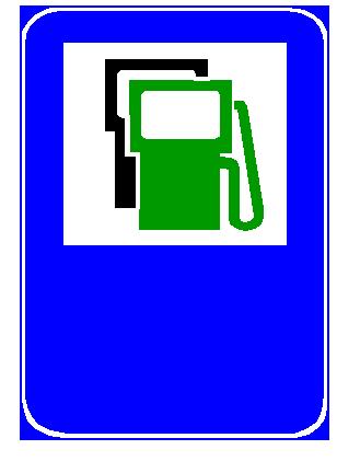 Sinjali në figurë tregon një pikë furnizimi me benzinë, naftë dhe benzinë pa plumb.