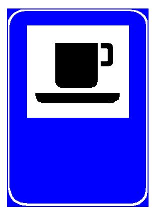 Sinjali në figurë u tregon drejtueseve të mjeteve, që qarkullojnë në rrugë interurbane, se në afërsi ndodhet një bar (kafe).