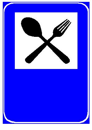Sinjali në figurë detyron drejtuesit e mjeteve të parkojnë mjetin dhe të ushqehen në restorant.
