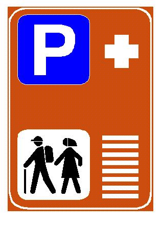 Sinjali në figurë tregon vendparkim për mjetet në zona turistike, për të mundësuar lëvizjen e njerëzve në këmbë.