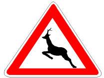 Sinjali në figurë paralajmëron një pjesë të rrugës ku mund të kalojnë papritur kafshë të egra.